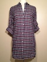 DKNY Mad for Plaid Flannel Boyfriend Sleepshirt Y2113174 Blue Check Small - $35.10