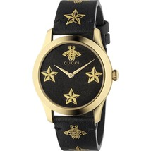 Gucci  YA1264055 G-Timeless Unisex PVD Gold plated Black Dial Ladies Watch - $888.64