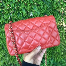 100% Auth Chanel RED Quilted Lambskin Large Mini 20CM Rectangular Flap Bag image 4