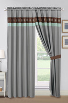 4-Pc Dahlia Tropic Floral Blossom Embroidery Curtain Set Mint Green Brown Gray - $40.89