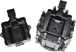 8 CYL OEM Distributor Cap, Rotor & Coil Cover Kit CHEVY GM FORD DODGE BLACK image 6