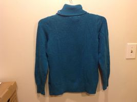 St John's Bay Sea-Toned Teal Turtleneck Sweater w Neck Buttons Sz Medium image 5