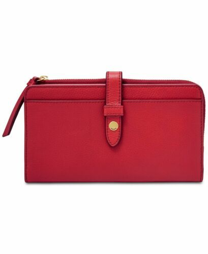 Fossil Women Fiona Leather Tab Wallet (Bright Red)