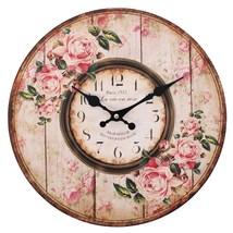 MDF Distressed Pink Rose Paris 1921 Wall Clock; 21 - $18.70