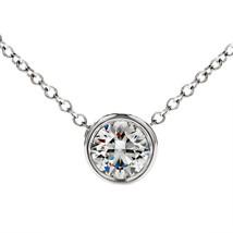 "0.40 Ctw G/H SI2 Diamond Bezel Solitaire Pendant 18"" Chain 14K White Gold - $378.95+"
