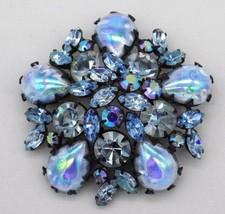 Vintage Regency Brooch Pin Large Blue Purple AB Art Glass Rhinestone Clu... - $59.39