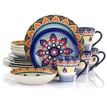 Elama Zen Blue Mozaik 16 Piece Luxurious Stoneware Dinnerware with Compl... - $80.18