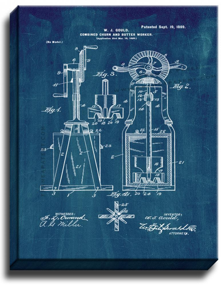 Primary image for Combined Churn and Butter-worker Patent Print Midnight Blue on Canvas