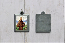 Saint Francis of Assisi PEWTER Necklace Pendant - Religious Saint Silver... - $7.95
