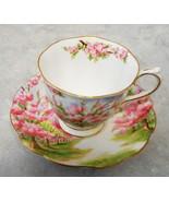 VINTAGE ROYAL ALBERT BONE CHINA ENGLAND CUP & SAUCER CHERY BLOSSOMS GLOD... - $94.05