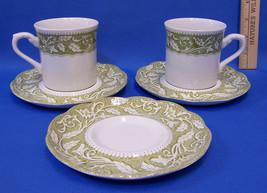 Vintage J & G Meakin Cups & Saucers Sterling Renaissance Green Leaf Mugs 5 Pcs - $16.82