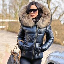 Black Solid Quilted Faux Fur Hooded Long Sleeve Casual Thick Coat image 3