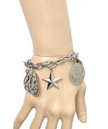 Vintage Inspired Handmade Charmed Bracelet Star, Coins, Coat Of Arms Mad... - $16.10