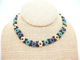Vintage Handmade Beaded Flower Choker Necklace Hippy Boho Bohemian  - $12.85