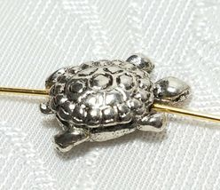 TURTLE BEAD FINE PEWTER BEAD - BRIGHT SILVER FINISH - 14mm L x 15mm W x 10mm D image 4