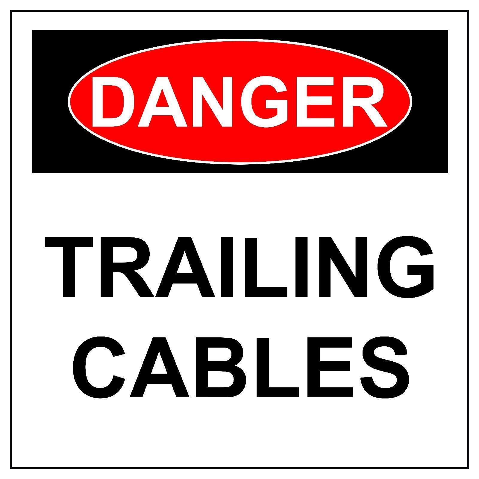 Danger Trailing Cables Signs, Aluminum Metal Safety Warning UV Print Hazard Sign