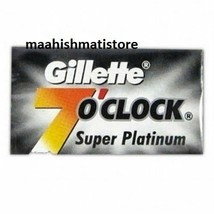100 Count Gillette 7 O Clock Super Platinum Coated Stainless Blade Smoot... - $21.69