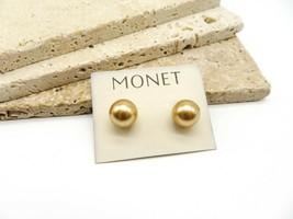 Retro Monet Chunky Cream Beige Faux Pearl Stud Earrings G60 - $15.99