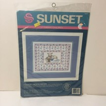 """Country French Friends Cross Stitch Kit Sunset 12"""" x 10"""" Swan Bunny Lamb - $9.74"""
