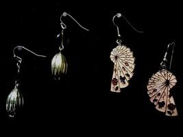 Vintage 2 Pair Earrings Peach Fan Shape Gold & Amber Dangling Fashion Je... - $8.66