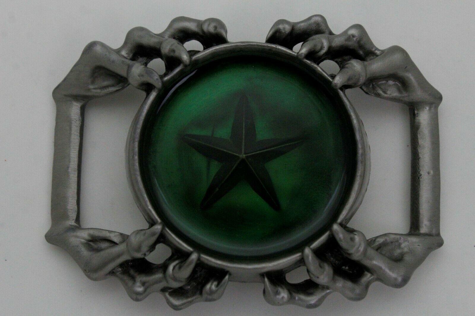 Camionneur Homme Biker Boucle Ceinture Métal Argent Aigle Griffes Vert Texas