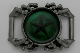Camionneur Homme Biker Boucle Ceinture Métal Argent Aigle Griffes Vert Texas image 1