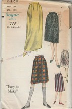 Vintage Sewing Pattern Vogue 5420 Skirt Two Lengths 1960s Waist 24 - $6.92