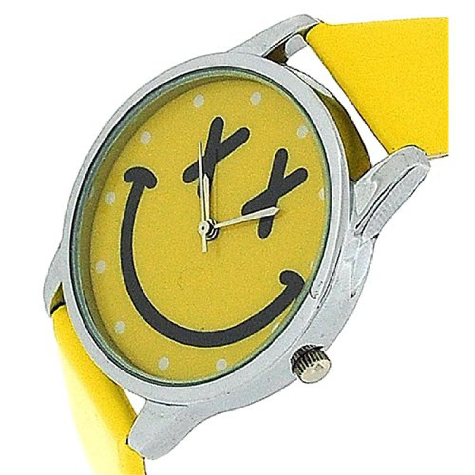 TOC Girls Analogue Yellow Emoticon Face & Yellow PU Strap Watch EYW001