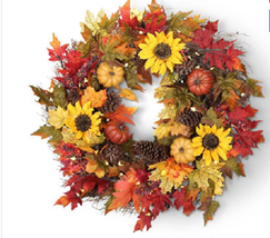 Thanksgiving Trim Cordless Prelit LED Decorations Fall Harvest Autumn Wr... - $133.62