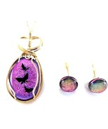 BUTTERFLY JEWELRY SET FUSED GLASS  14 K GOLD FILL - $64.35