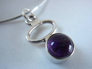 Primary image for Very Small Amethyst Hoop 925 Silver Necklace Purple Corona Sun Jewelry New