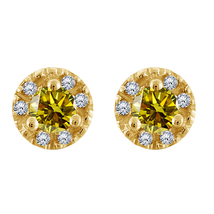 0.85 Ctw Round Citrine & Diamond Stud Earrings 14k Yellow Gold Over - $60.94