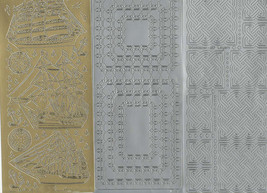 3 mixed peel off stickers 1 gold 2 silver  ideal cards, papercraft, displays, sc