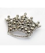 Signed Weiss Hermatite Smokey Rhinestone Crown Brooch  - $27.01