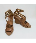 Nine West Womens Shoes Sandals Heels Wedge Ankle Strap Tan Porti Size 9.5 M - $59.35