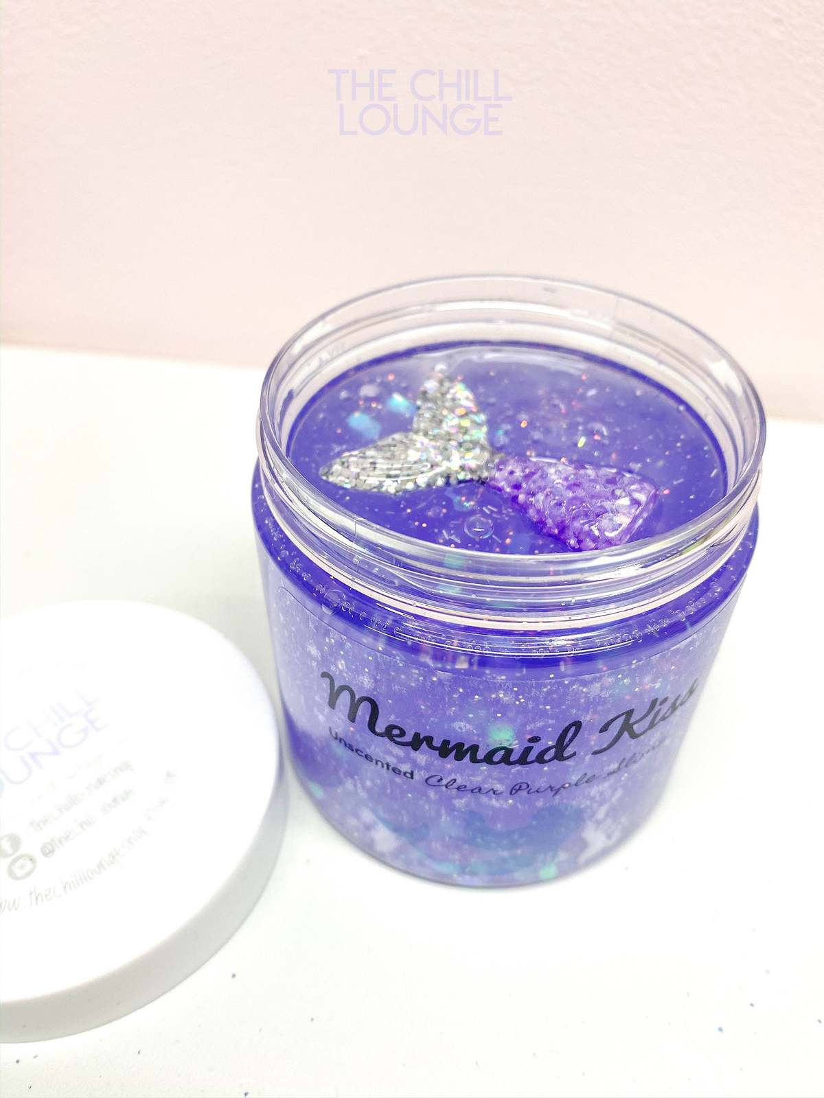 Mermaid Kiss Holographic Chunky Glitter Stretchy Clear Slime with MERMAID CHARM  image 5