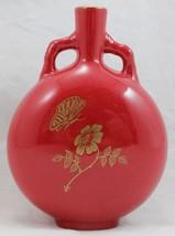 """Franciscan Porcelain Round/Flat Shape Bud Vase Red/Gold Floral 4-1/4"""" x ... - $39.99"""