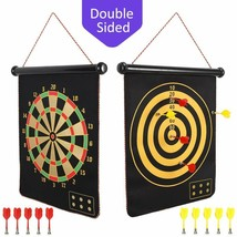 Magnetic Dart Board For Kids, Indoor Outdoor Darts Game Double Sided Board - $30.87