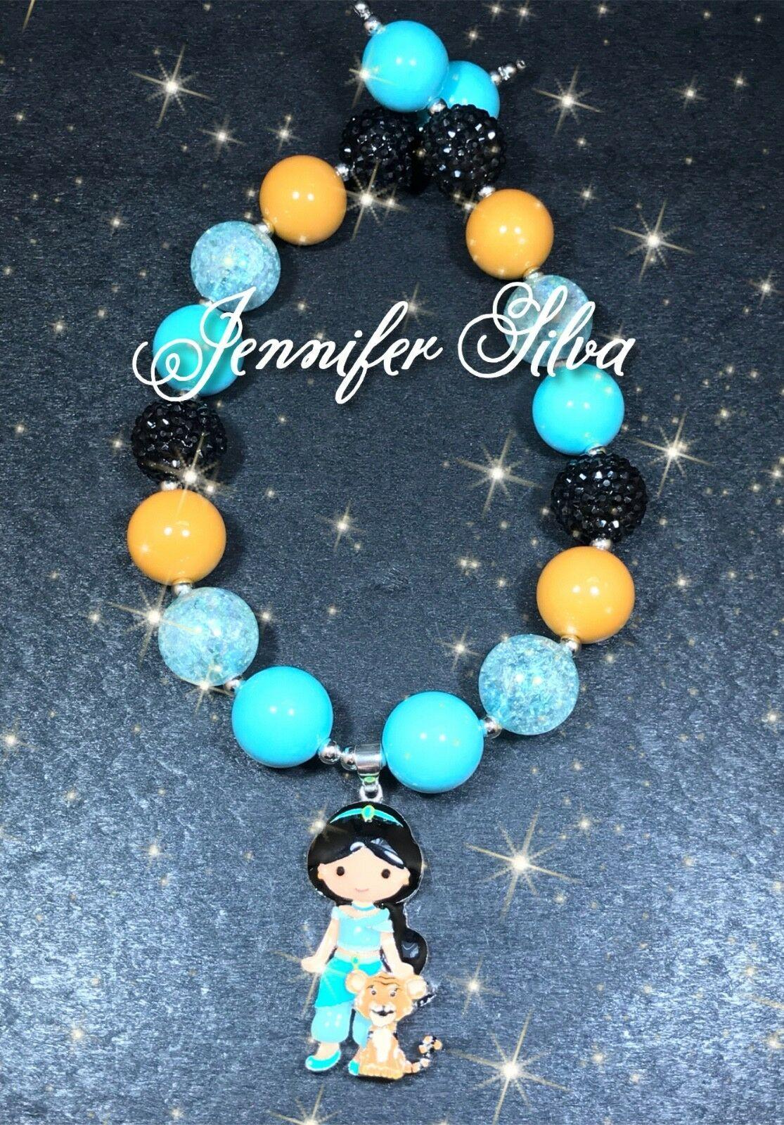Princess Jasmine With Rajah Inspired Chunky Bubblegum Necklace