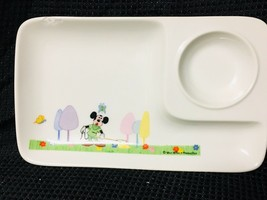 Walt Disney Mickey Mouse Ceramic Snack Plate With Cup Holder Made In Japan - $9.00