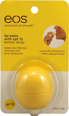 Primary image for EOS Smooth Lip Balm Sphere Lemon Drop SPF15 Vitamin E Shea Butter Natural Flavor