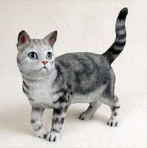 SHORTHAIRED STANDING SILVER TABBY CAT Figurine Statue Hand Painted Resin... - $17.25