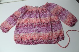 W11474 Womens ANN TAYLOR LOFT pink/purple PEASANT BLOUSE, smocked neck, ... - $28.97