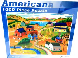 Americana 1000 Piece Puzzle by Pressman Steve Klein 10146 Village Sealed - $9.73