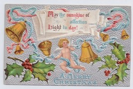 Christmas Bells Cherub Holly Embossed Litho on Silver Moire Vintage Postcard - $6.69