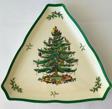 Spode Christmas Tree Green Trim Flat Cups and Saucers Made in England - $6.65+