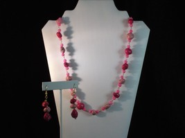 Handmade Pink stabilized Turquoise necklace and earring set - $12.46
