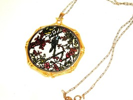 Vintage Jan Max 1971 Oriental Bird Floral Necklace woodland Boho statement - $59.35