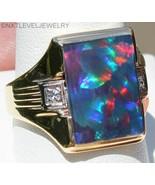 Antique 1920's Art Deco Natural BLACK Opal & 2 Diamond 10k Solid Gold Me... - $935.55
