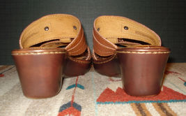 EU Sz 7 Strappy Toe Wedge US Brown Born Casual Slide Leather Open NICE 38 q84vnCw